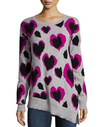 Neiman Marcus Cashmere Heart Leopard Print Tunic Heather Gray Elsa Black