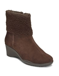 Aerosoles Factory Faux Fur Lined Ankle Boots Brown