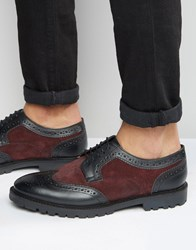 Base London Conflict Leather Derby Brogue Shoes Red