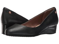 Hush Puppies Dot Admire Black Leather Women's Slip On Shoes