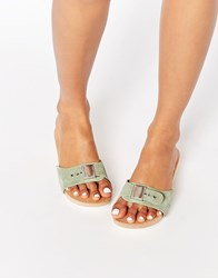 Asos First One Suede Wooden Mule Sandals Mint Green