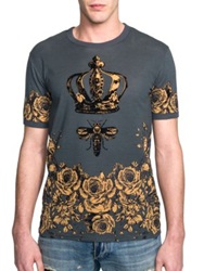Dolce And Gabbana Crown Bee Cotton Tee Grey Gold