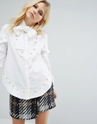Sister Jane Western Shirt With Tie Up Neck And Star Embellishment White