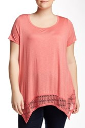 Halo Crochet Hem Blouse Plus Size Pink