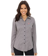 Cinch Cotton Plain Weave Fit Grey Women's Long Sleeve Button Up Gray
