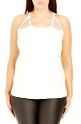 City Chic Plus Size Women's Cutout Racerback Tank Ivory