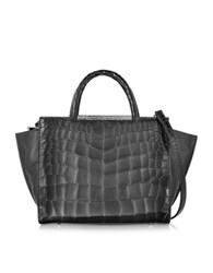 Class Roberto Cavalli Regina Embossed Croco Dark Grey Leather Small Handbag