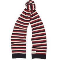 Oliver Spencer Benu Striped Wool Scarf Red