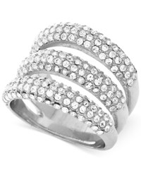 Vince Camuto Silver Tone Triple Bar Pave Statement Ring