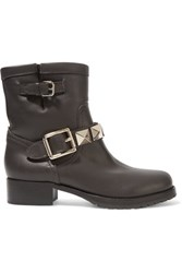 Valentino Studded Shearling Lined Leather Ankle Boots Dark Brown