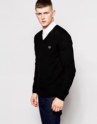 Fred Perry Jumper With V Neck In Black