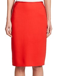 Escada Wool Pencil Skirt Bright Orange