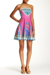 Flying Tomato Printed Strapless Bandeau Dress Pink