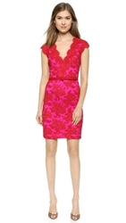 Reem Acra Two Tone Lace Dress Red Fuchsia