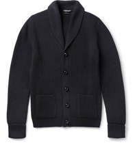 Tom Ford Shawl Collar Ribbed Merino Wool Cardigan Navy