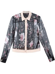 Alice Olivia Rose Print Shirt Black