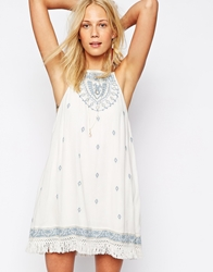 Abercrombie And Fitch Embroidered Open Back Cheesecloth Boho Dress White