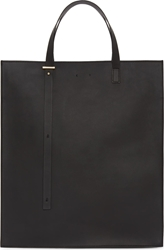 Pb 0110 Ssense Exclusive Black Structured Leather Tote