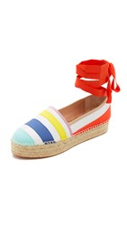 Kate Spade Leena Platform Espadrilles White Mint Blue Yellow Pink