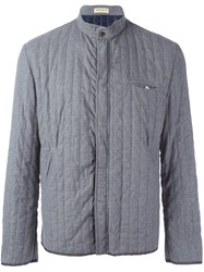 Al Duca D'aosta 1902 Quilted Band Collar Jacket Grey