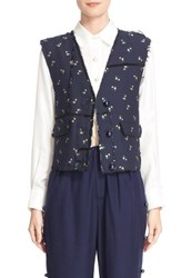 Steventai Women's Wadded Floral Jacquard Vest