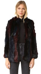 525 America Rabbit Fur Jacket Black Combo