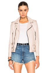 Saint Laurent Classic Washed Leather Motorcycle Jacket In Neutrals Pink