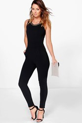 Boohoo Chain Neck Jumpsuit Black