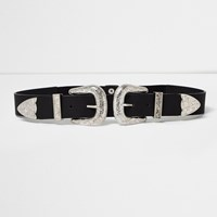 River Island Womens Black Large Double Buckle Western Belt
