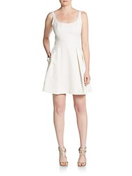 Shoshanna Kings Street Knit Fit And Flare Dress Ivory Gold