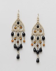 Ashiana Chandelier Drop Earrings Gold Black