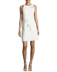 Marchesa Sleeveless Embroidered Ponte Shift Dress Ivory
