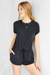 Bdg Melinda Knit Drawstring Romper Washed Black