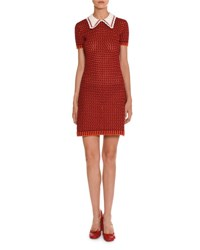 Miu Miu Short Sleeve Crocheted Polo Dress Orange Red Orange Red