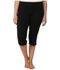 Marika Curves Plus Size High Rise Tummy Control Capris Black Women's Workout