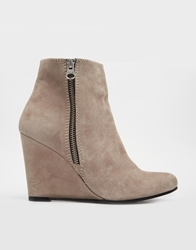 Gardenia Leather Heeled Boots With Side Zip Suedetaupe