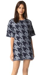 Marques Almeida Denim Frayed Edge T Shirt Dress Houndstooth