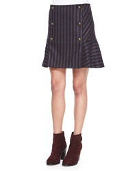 Veronica Beard Forge Striped Button Flare Skirt Navy Red