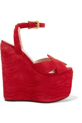 Gucci Quilted Suede Wedge Sandals Red