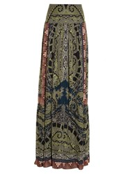 Etro Paisley And Graphic Print Silk Skirt Green Multi