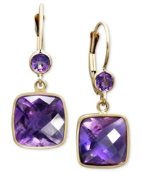 Macy's 14K Gold Earrings Amethyst Cushion Cut Drop 8 1 2 Ct. T.W.