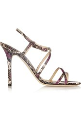 Jimmy Choo Issey Snake Effect Leather Sandals Animal Print