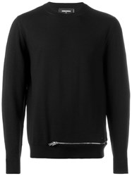 Dsquared2 Zip Bottom Knitted Jumper Black