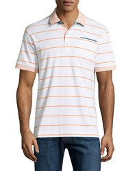 Robert Graham Grover Striped Short Sleeve Polo Shirt White