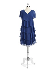 Patra Tiered Crepe Dress Blue
