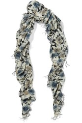 Chan Luu Printed Cashmere And Silk Blend Scarf Blue