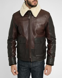 Schott Nyc Brown Grained Smooth Leather Fur Collar Aviator Jacket