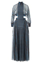 Fendi Silk Chiffon Broken Circle Print Dress Blue