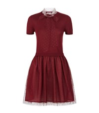 Red Valentino Lace And Knit Short Sleeve Dress Female Red