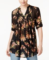 American Rag Pintucked Floral Print Blouse Only At Macy's Black Combo
